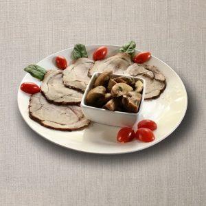 porchetta con funghi trifolati olv ter nood heiloo catering-01