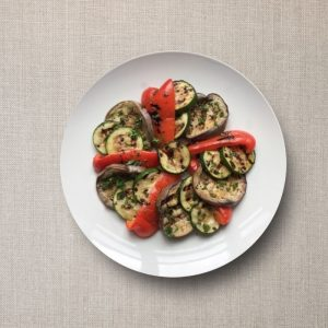 Trio van gegrilde groenten, courgette, aubergine olv ter nood heiloo afhalen menu